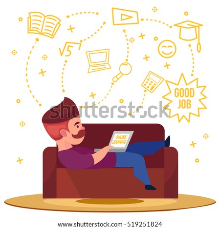 Online learning conceptual composition with male character with laptop on sofa and decorative thought signs symbols vector illustration