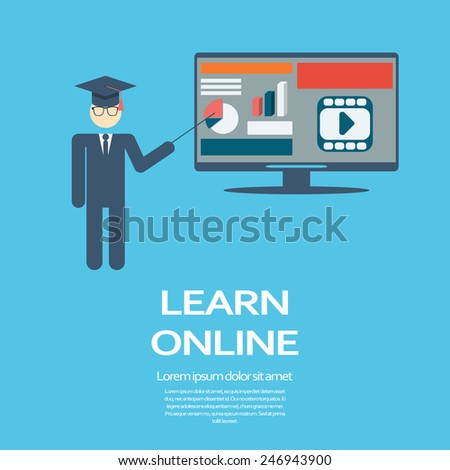 Online learning education infographic template with electronic technology devices and responsive webdesign. Eps10 vector illustration. - stock vector