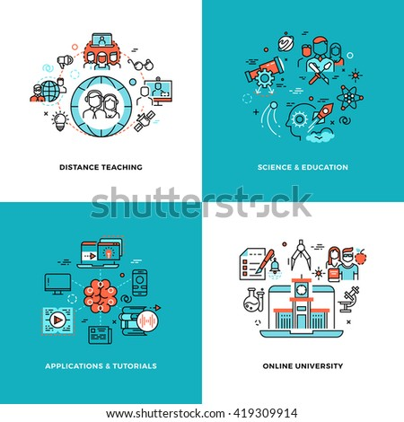Online learning, tutorials and education vector concepts set. University education information and knowledge, communication web education illustration - stock vector