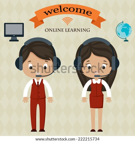 Online learning welcome board. Man and woman in headphones. Welcome banner. Computer and globe icons. - stock vector