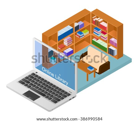 Online library. A web site with a collection of electronic books. Educational materials. Concept Laptop with the library. E-education. Vector illustration. - stock vector
