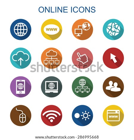 online long shadow icons, flat vector symbols - stock vector