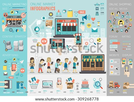Online Market Infographic set with charts and other elements. Vector illustration. - stock vector