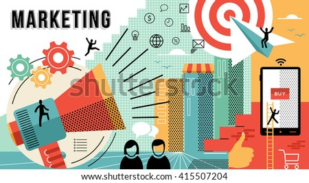 Online marketing business illustration with modern designs in flat line art style showing how to achieve work goals. EPS10 vector. - stock vector
