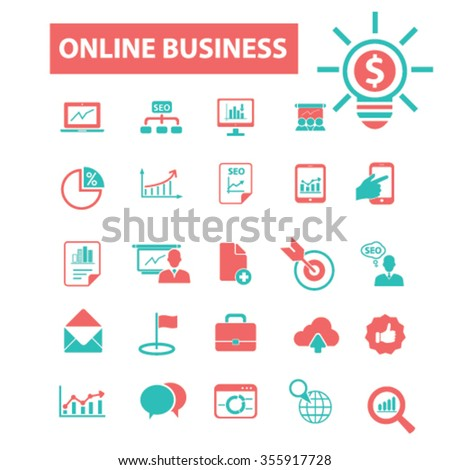 online marketing, digital advertising, marketing research, marketing plan, video, image, brainstorm  icons, signs vector concept set for infographics, mobile, website, application  - stock vector