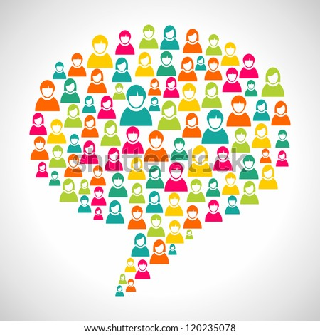 Online marketing: diversity people profile in social speech bubble shape. Vector file layered for easy manipulation and custom coloring. - stock vector
