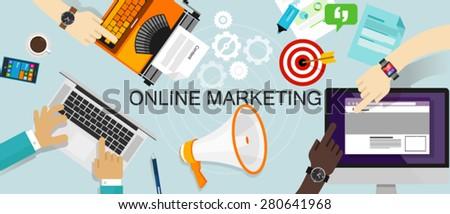 Online Marketing Promotion Branding Advertisement ads web advertising - stock vector