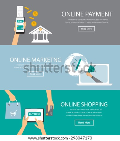 online marketing , shopping, payment infographics element and background. Can be used for one page website, business data, web page design, cover page, brochure template. vector illustration - stock vector