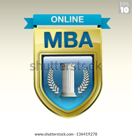 Online MBA gold medal with ribbon, wreath, greek column - stock vector