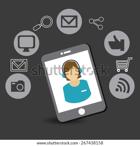 Online Media design over gray background, vector illustration.