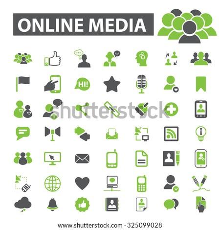online media icons - stock vector