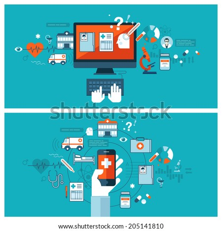 Online medical diagnosis and treatment. Flat design concepts for web banners and printed materials.  - stock vector