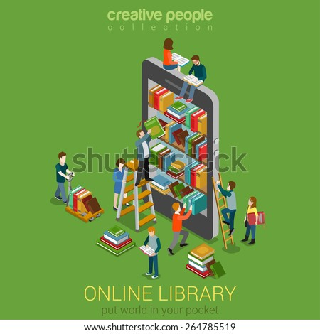 Online mobile library creative modern 3d stock vector for 3d flat design online