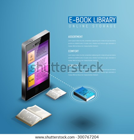 Online mobile library modern isometric concept. Books icons in smart phone tablet. One book selected. Plenty of mobile educational literature in device. - stock vector