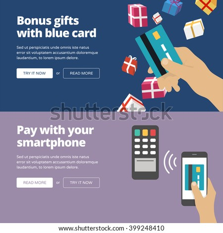 Online & mobile payment website banners and illustrations. One page web design heroimage collection 3. - stock vector