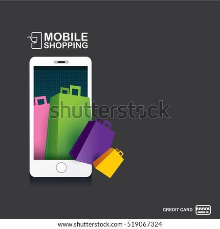 Online mobile shopping concept vector mobile stock vector for Shopping mobili online