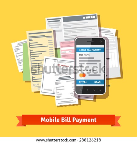 Online mobile smartphone bill payment. Phone laying down on bill heap. Flat vector icon. - stock vector
