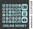 online money, atm, payment black isolated icons, signs, silhouettes, illustrations set, vector - stock vector