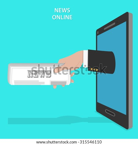 Online news service flat vector concept. Mans hand with newspaper roll appears from smartphone screen. - stock vector