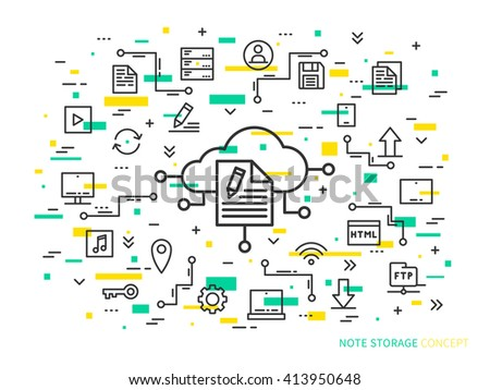 Online note storage vector illustration on colorful background. Web cloud technology graphic design. File storage creative concept. Linear internet data storage concept. - stock vector