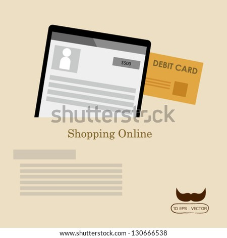 Online payment and shopping online - stock vector