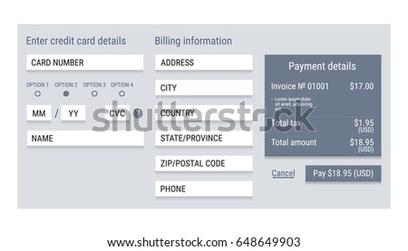 Online Payment Form Online Digital Invoice Stock Vector - Digital invoice