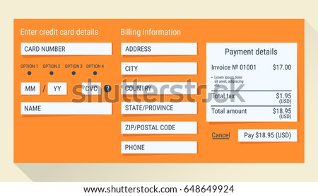 Online Payment Form Online Digital Invoice Stock Vector 648649903