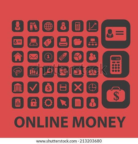 online payment, investment, online money isolated icons, signs, symbols, illustrations, silhouettes, vectors set - stock vector