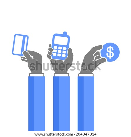 Online Payment Methods Icons Set. Vector illustration - stock vector