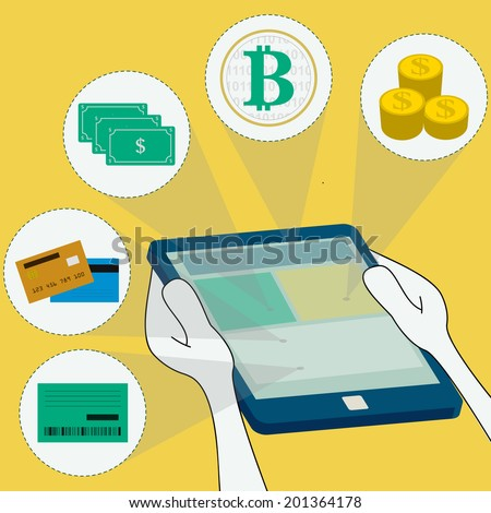 Online payment methods: money, virtual currency, bank, credit card and debit. Surfing the tablet. - stock vector