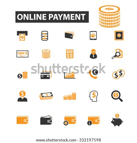 online payment, money, cash, coins icon & sign concept vector set for infographics, website - stock vector