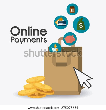 Online payments design over white background, vector illustration. - stock vector