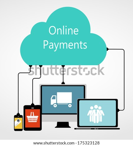 Online Payments Flat Concept Vector Illustration   - stock vector