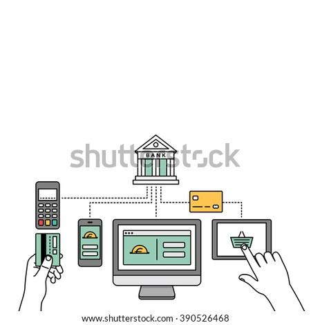 Online payments, transactions, internet banking & mobile payment vector illustration. - stock vector