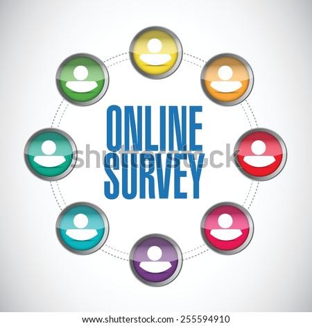 online people survey illustration design over a white background - stock vector