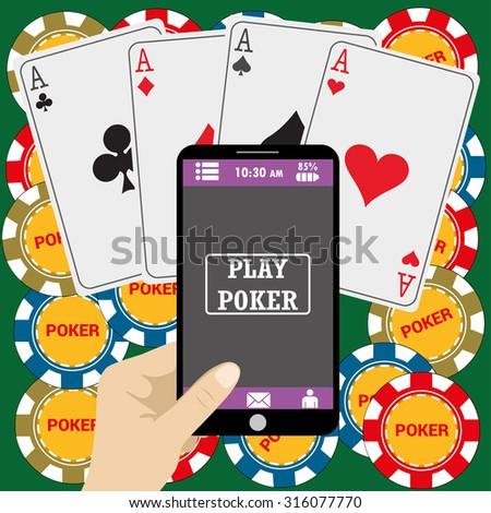 Online poker app on tablet touch screen, smart phone, cards and chips all around, vector - stock vector