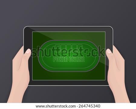 Online poker, online gambling, hobby - stock vector