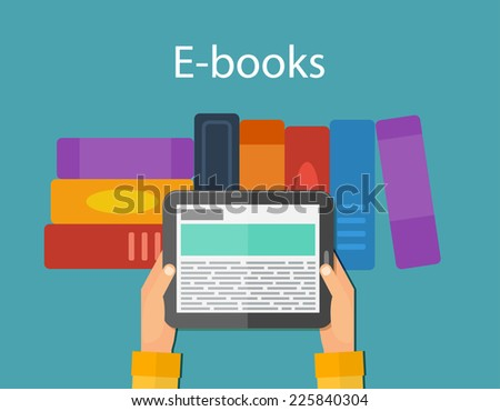 Online reading and E-book, education. Mobile devices technology concept. Vector illustration - stock vector