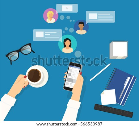 Online reading announcements in social networks. Female hands holds smartphone for keeping track of her friends announcements and reposts. Flat concept illustration of reposting news on blue work desk