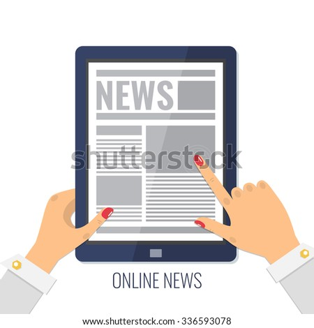 Online reading news. Female hands holding a tablet computer. Newsletter and information. Business news.