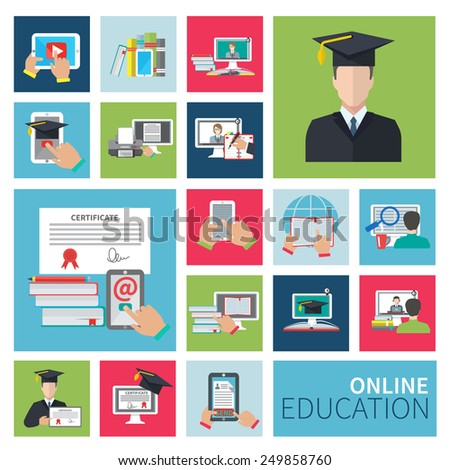Online school and university distance education flat icons set isolated vector illustration - stock vector