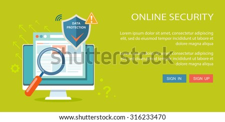 Online security flat illustration. Eps10 - stock vector
