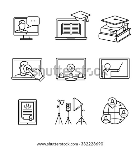 Online seminar icons thin line art set. Webinar education and development. Black vector symbols isolated on white. - stock vector