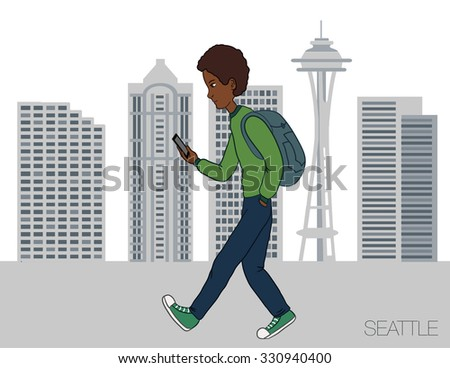 Online services on the smartphone. Entertainment and business through cloud technology. Man is walking in the city of Seattle with a mobile phone. Vector illustration for presentation of mobile app - stock vector