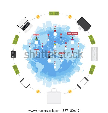 Online shop concept on sale digital vectores en stock 567180619 online shop concept on the sale of digital technology world map and silhouette of gumiabroncs Gallery