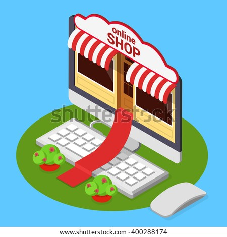 Online shop opening concept. Flat 3d isometric isometry e-commerce internet technology business web vector illustration. Red carpet from computer monitor over keyboard from store entrance to street. - stock vector