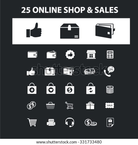 Online shop, sales, store icons & signs concept vector set for infographics, website - stock vector