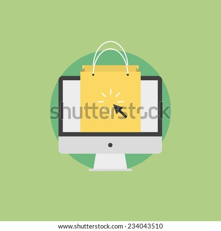 Online shopping and e-commerce concept, internet business commerce, shopping bag on a monitor screen. Flat icon modern design style vector illustration concept. - stock vector