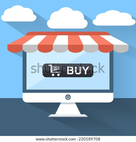 Online shopping and e-commerce Vector Concept . With shopping cart icon on a modern digital screen. Flat Design Illustration for Web Sites Infographic Design. - stock vector
