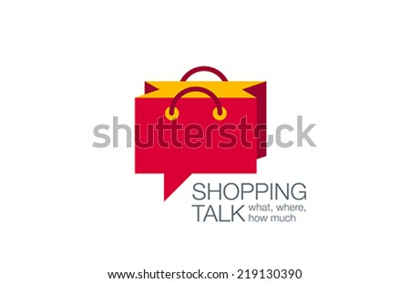 Online Shopping Bag Logo Chat design vector template. Web Shop, Sale, Trade, Retail logotype concept icon. - stock vector